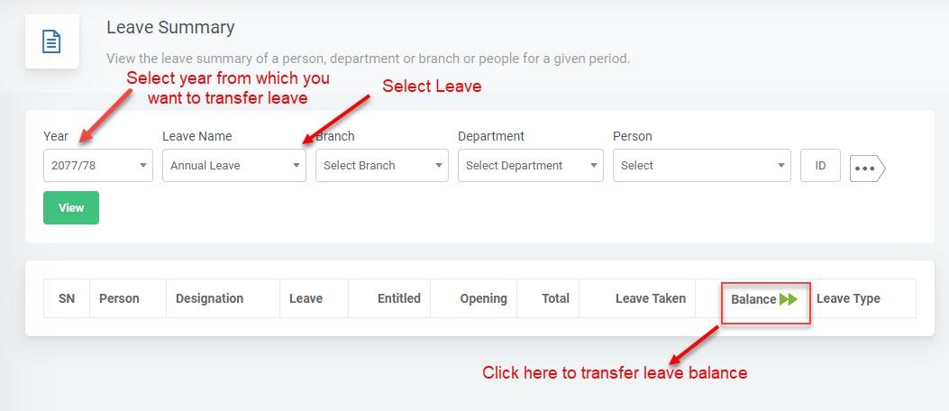 leave balance transfer