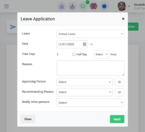 Leave application form in HRIS portal