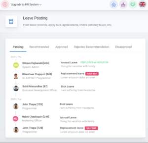 Employee Leave report available in HR cloud portal