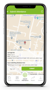 Submit clock in/out from app by sharing your geo location.